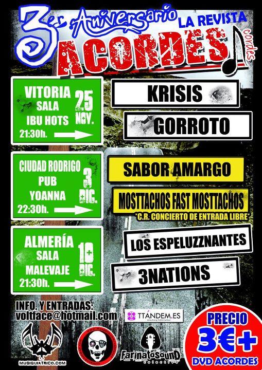 Cartel Festival Acordes La Revista - Vitoria - Ciudad Rodrigo - Almería