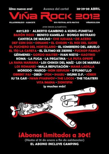 Cartel VIÑA ROCK 2012 - VistO en la página oficial Viña Rock 2012