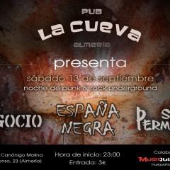 Punk & Rock en La Cueva (Almería): Negocio + España Negra + Sin Permiso
